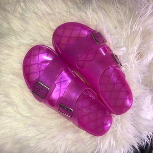 Magenta Two Strap Jelly Slides